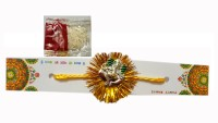 ICraft World Single Silver Ganesha & Yellow String Rakhi With Roli, Chawal Design Designer Rakhi Multicolor, 1 Rakhi With Chawal,Tikka