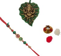 ECraftIndia Design Designer Rakhi (Multicolor, 1 Designer Single Rakhi, 1 Roli Tikka Matki, 1 Lord Ganesha On Green Leaf)