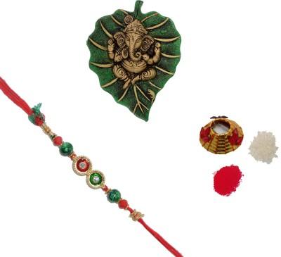 ECraftIndia Design Designer Rakhi (Multicolor, 1 Designer Single Rakhi, 1 Roli Tikka Matki, 1 Lord Ganesha On Green Leaf)