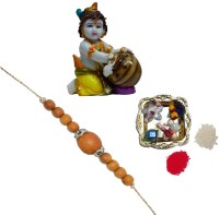 ECraftIndia Rudraksh Rakhi With Colorful Makhan Chor Statue And Decorative Pooja Plate Design Rudraksh Rakhi Multicolor, 1 Rudraksh Rakhi, 1 Decorative Pooja Plate, 1 Colorful Makhan Chor Statue