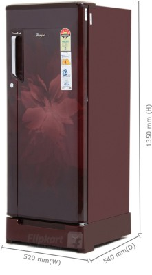 Whirlpool 200 L Direct Cool Single Door Refrigerator (215 IMFRESH ROY 5S, Wine Regalia)