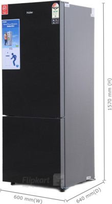 Haier 345 L Frost Free Double Door Refrigerator (HRB -3654PKG-R, Black Glass)