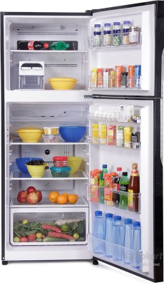 Hitachi 382 L Frost Free Double Door Refrigerator (R-VG400PND3- (GBK), Glass Black)