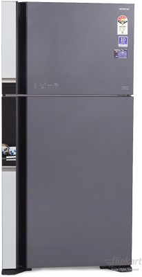 Hitachi 565 L Frost Free Double Door Refrigerator (R-VG610PND3, Glass Grey)