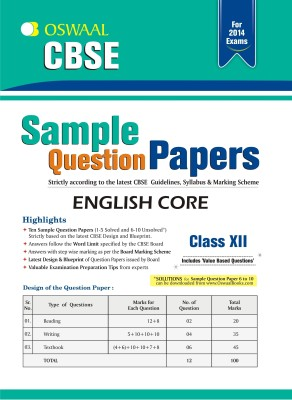 Buy Oswaal CBSE Sample Question Papers For Class 12 English Core: Regionalbooks