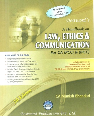 Buy A Handbook On Law, Ethics & Communication For CA (PCC) & (IPCC): Regionalbooks