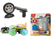 Dinoimpex Gun With Remote Control Stunt Car And Beyblade Set Combo (Multicolor)