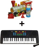 ECO SHOPEE BUBBLE SHOOTER TRAIN WITH 37 KEY MUSICAL ELECTRONIC PIANO KEYBOARD (Red)