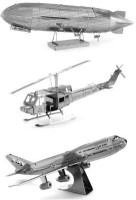 Metal Earth Set Of 33D Laser Cut Building Models: UH-1 Huey Bell Helicopter - Graf Zeppelin - Commercial Jet Airplane (Multicolor55)