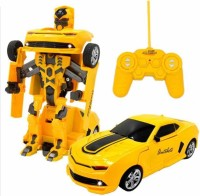 Gift World RC Transformation Toys One Key Remote Control Car Bumblebee 360 Rotation (Yellow)
