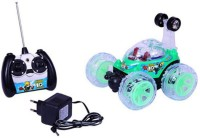 Vaibhav RC Stunt Car With Led Lights - 360 Degree Rotate (Green) (Green)