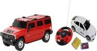 ECO SHOPEE REMOTE CONTROL 1:24 RED HUMMER CAR WITH JACKMEAN WHITE RECHARGABLE CAR WITH STEARING TOY FOR KIDS (RED)