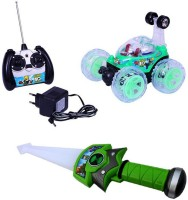 Turban Toys Rechargeable Remote Controlled Stunt Car & Ben10 Sword Combo Pack (Multicolor)