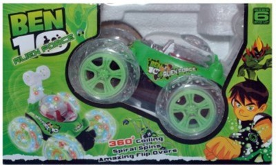 SHREE JI ENTERPRISES Ben 10 Stunt Car Rechargeable With Remote Controller (Light Green)