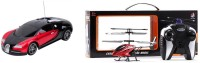 Madink Combo Of Remote Control Bugatti Car & Vmax HX713 Helicopter (Red)