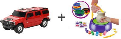 ECO SHOPEE Remote Control Toys ECO SHOPEE REMOTE CONTROL 1:24 RED HUMMER CAR WITH POTTERY WHEEL FOR KIDS