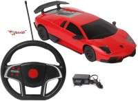 LAVIDI Red Lamborghini Rechargeable Gravity Sensing Steering Wheel Remote Controlled Car For Kids (Red)
