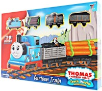GoMerryKids Thomas & Friends Cartoon 19 Pcs Toy Train Track Set With Sound For Kids (Multicolor)