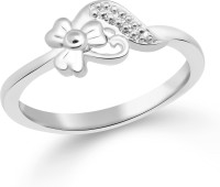 Classic Cute Plain Rhodium Plated Ring For Women Size9 [CJ1058FRR9] Alloy Cubic Zirconia White Gold 18 K Ring