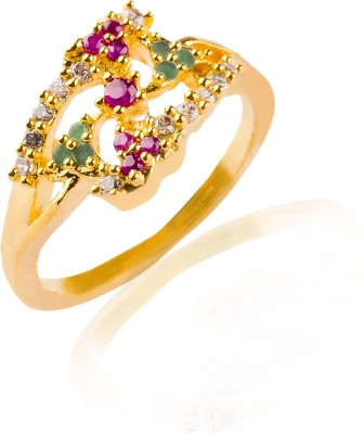 Image result for VK Jewels Dual Mayur Alloy Cubic Zirconia Yellow Gold Ring images in Flipkart