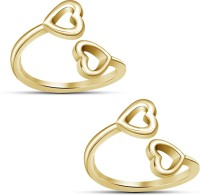 Kirati Charming Double Heart Shape Sterling Silver Cubic Zirconia 14K Yellow Gold Toe Ring
