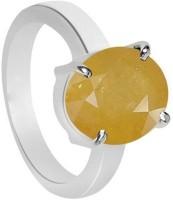 11 Astro Gems 21.5 Crts Yellow Sapphire (pukhraj) Silver Sapphire Ring