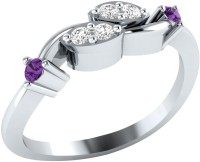 Demira Jewels Stunning Swirl White Gold Diamond, Amethyst 14K White Gold Plated 14 K Ring