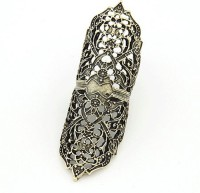 Cinderella Collection By Shining Diva Black & Golden Full Finger Alloy Ring