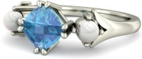 BlueStone The Dream Date White Gold Pearl, Aquamarine 14 K Ring