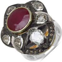 Johareez 11.40 Grams Genuine Ruby, Polki & Diamond Two Tone Plated .925 Sterling Silver Ring Silver Ruby Sterling Silver NA K Ring