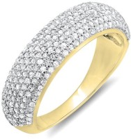 Kavya Jewels Anniversary Yellow Gold Diamond 18K Yellow Gold Plated 18 K Ring