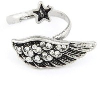 Cinderella Collection By Shining Diva Black & Silver Cz Alloy Ring