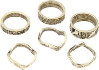 Young & Forever Tribal Inspired Antique Gold Midi (Set Of 6) Alloy Ring Set
