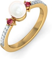 BlueStone The Deema Yellow Gold Diamond, Ruby, Pearl 14 K Ring
