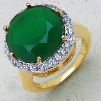 Johareez 6.10 Grams Green Stone & White Cubic Zirconia Gold Plated Brass Ring Brass Brass Ring