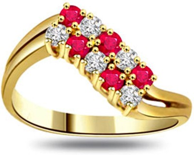 Surat Diamond 0.15ct Diamond & Ruby Ring Yellow Gold Diamond, Ruby Ring