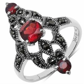 Silvantra Genuine Gemstone With Marcasite Silver Garnet Rhodium Ring