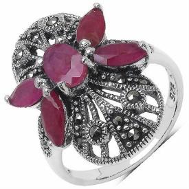 Silvantra Genuine Gemstone With Marcasite Silver Ruby Rhodium Ring