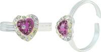 Memoir Heart Shape Purple CZ Brass Cubic Zirconia Silver Toe Ring