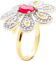 Memoir Ruby Red Studded Flower Shape Adjustable Size Brass Cubic Zirconia Yellow Gold Ring