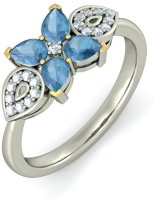 BlueStone The Lovely Blossoming White Gold Topaz, Diamond 14 K Ring