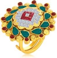 Sukkhi Angelic Designer Traditional Cocktail Invisible Setting Gold Plated American Diamond Alloy 18K Yellow Gold Ring