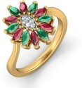 BlueStone The Mystic Floriated Yellow Gold Diamond, Ruby, Emerald Ring