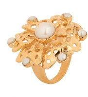 Voylla Pearl With Floral Design Metal Zircon Rhodium Plated Ring