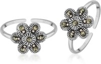 Peora Oxidised Floral Marcasite Sterling Silver Toe Ring