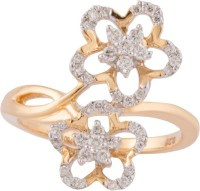 Wite&Gold Paired Flower Yellow Gold Diamond 18K Yellow Gold 18 K Ring