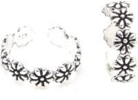 Gandhi Jewellers Floral Sterling Silver Toe Ring Set