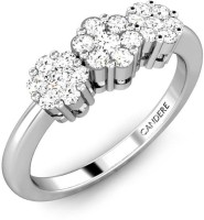 Candere The Tri-Flowers White Gold Diamond 14 K Ring