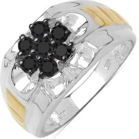 Johareez 0.35CTW Genuine Black Diamond .925 Sterling Silver Two Tone Gold Plated Ring Silver Diamond Sterling Silver NA K Ring