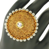 Spargz Round Design Finger Ring Studded With Pearl Alloy Yellow Gold Ring